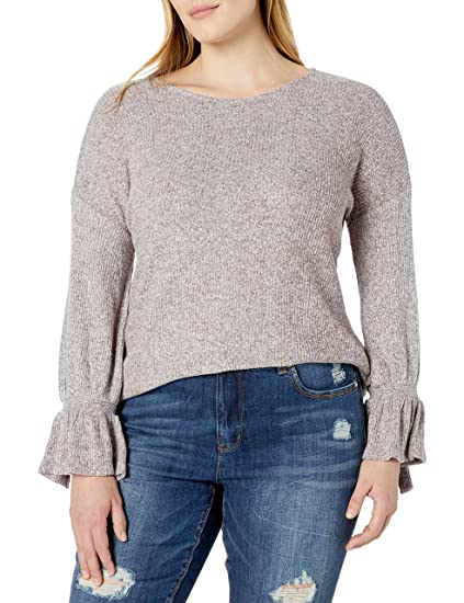 Lucky Brand Womens Plus Size Tie Sleeve Pullover Top