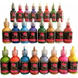 Fabric Paint 3D Set of 24 Vibrant Colors Premium Quality by Crafts 4 ALL. Ideal For Glass, Canvas, Fabrics, Wood and Many More