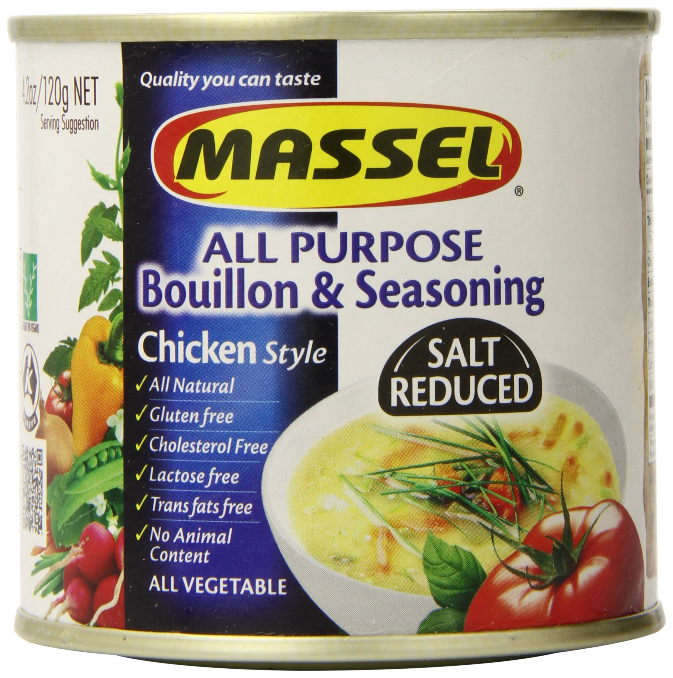 Massel Gluten-Free, Salt Reduced All Purpose Bouillon & Seasoning Granules, Chicken Style, 4.2-Ounce (Pack of 6)