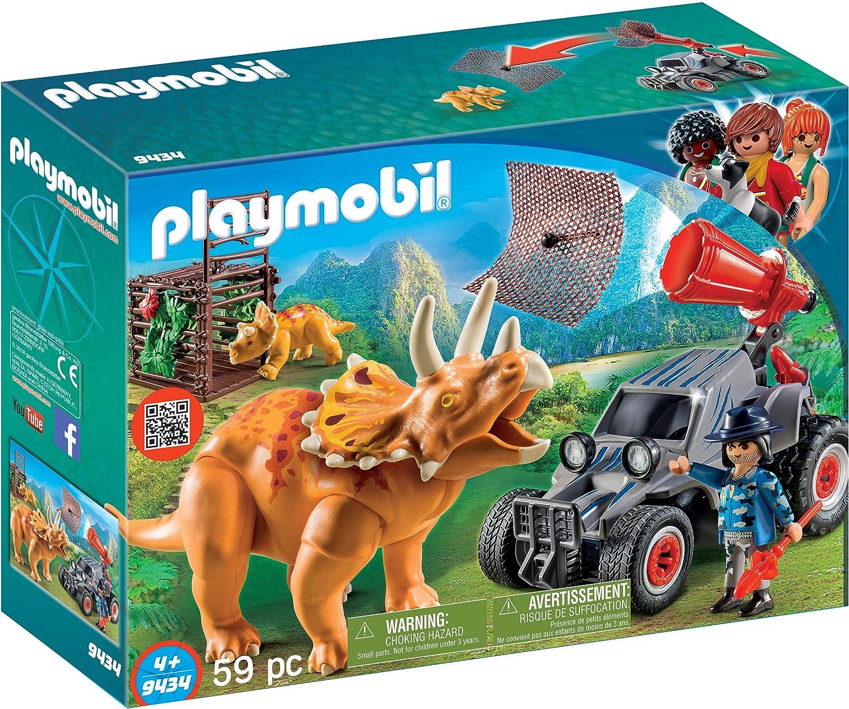 PLAYMOBIL Dinos Coche con Triceratops, a Partir de 4 Años (9434)