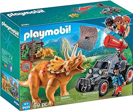 Diversión para los pequeños aventureros: PLAYMOBIL Coche con Triceratops, Cañón de red funcional y m