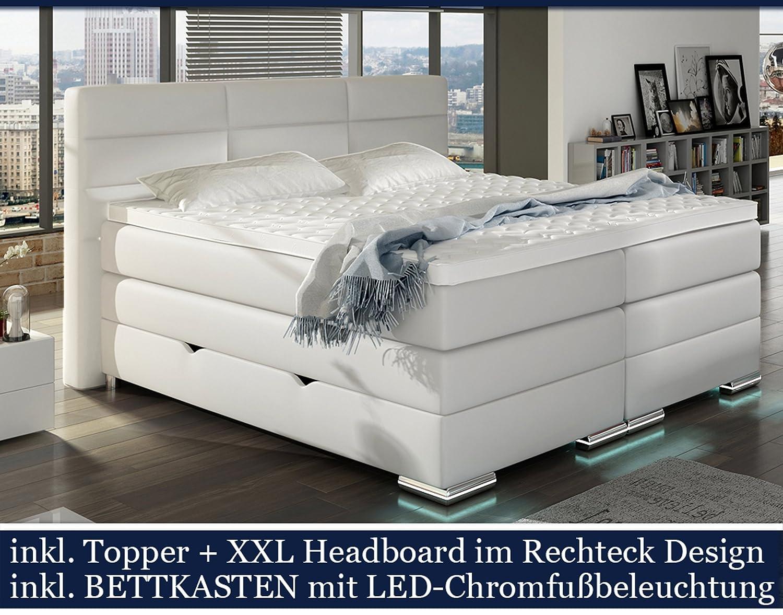 Boxspringbett mit bettkasten elektrisch  XXL ROMA Boxspringbett mit Bettkasten Designer Boxspring Bett LED ...