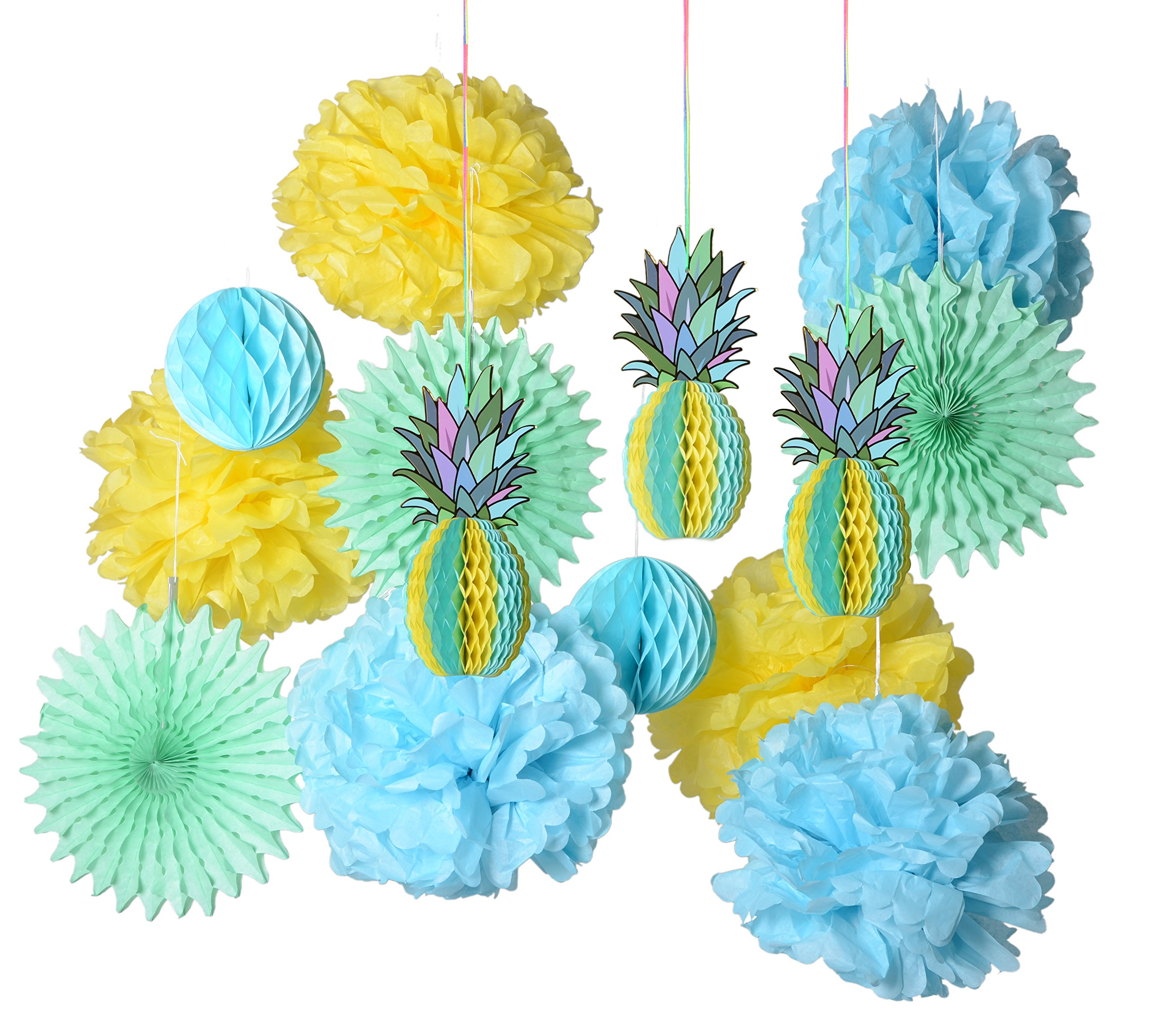 PAPER JAZZ multicolored paper honeycomb pineapple table centerpiece pompom fan kit hanging decoration decor for summer Hawaiian laua tiki beach tropical fruit party birthday (MINT GREEN SET) by paper jazz