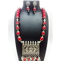 Shreevari Fashion Oxidized Designer Beads Necklace (Necklace + 1 pair of Earrings)