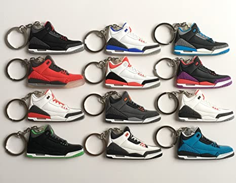 74d1337ff997 Jordan Retro 3 Sneaker Keychain Pack Black Cement Doernbecher Katrina Joker  True Blue Fire Red Fear