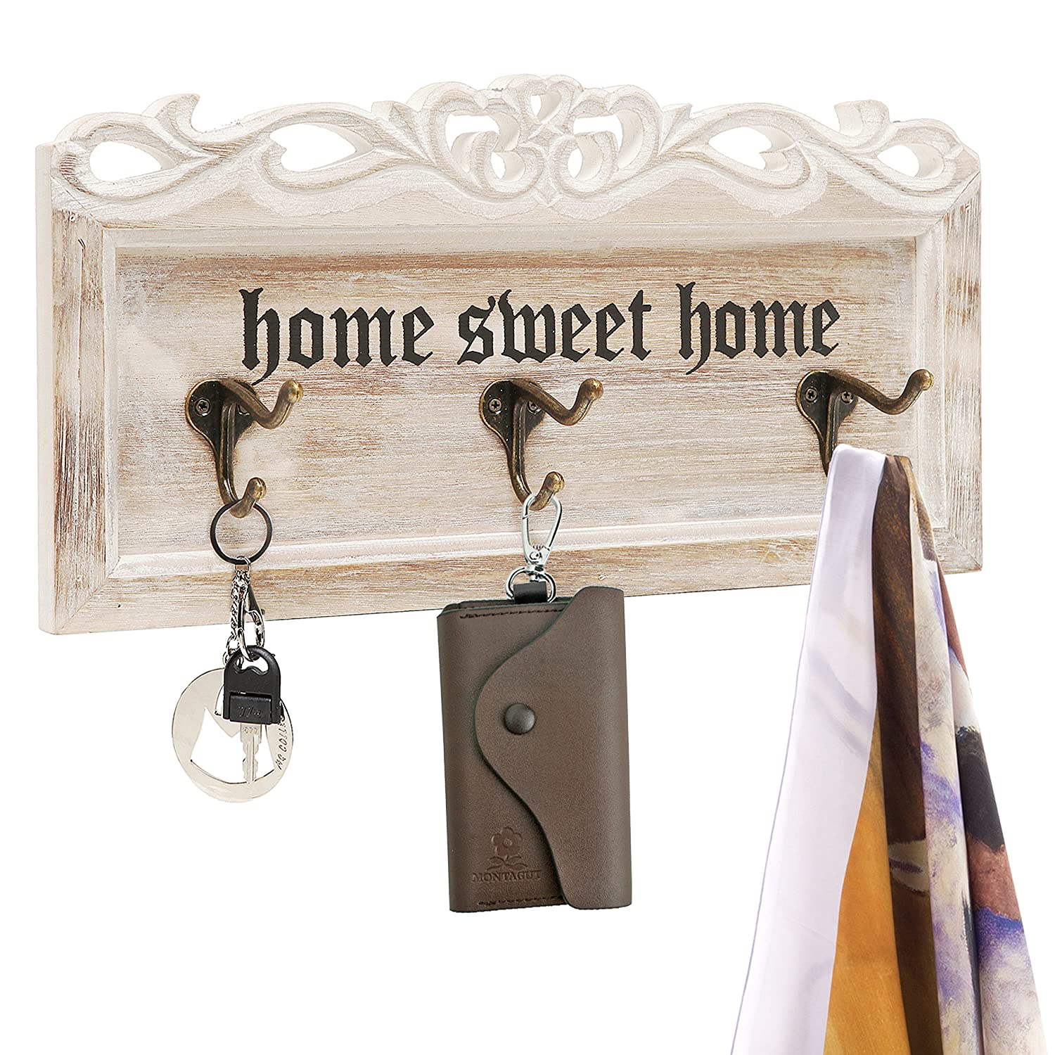 Vintage White Washed Wood Home Sweet Home Decorative Wall Mounted 3 Coat / Key Dual Hooks Organizer Rack MyGift