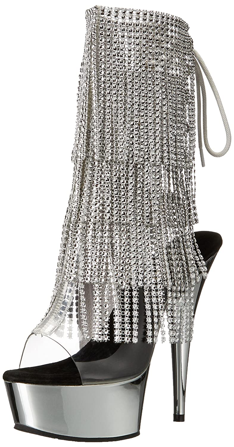 Pleaser Women's Del1017rsf/c-s/sch Boot B017U9NUR8 8 B(M) US|Clear Silver/Silver Chrome