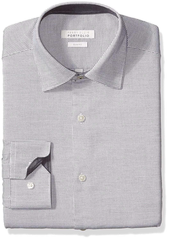 Perry Ellis Hommes's Slim Fit Wrinkle Libre Robe Shirt, noir Nailshead, 16 34 35