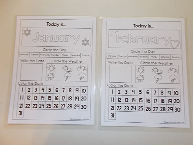 Amazon.com: 12 Preschool Dry Erase Today Is Monthly Calendar Pages ...