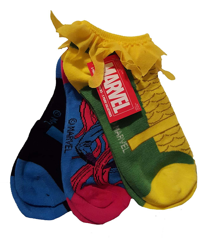 Medusa Size 9-11 Marvel Loki Black Bolt Womens 3 Pair Low Rise Socks