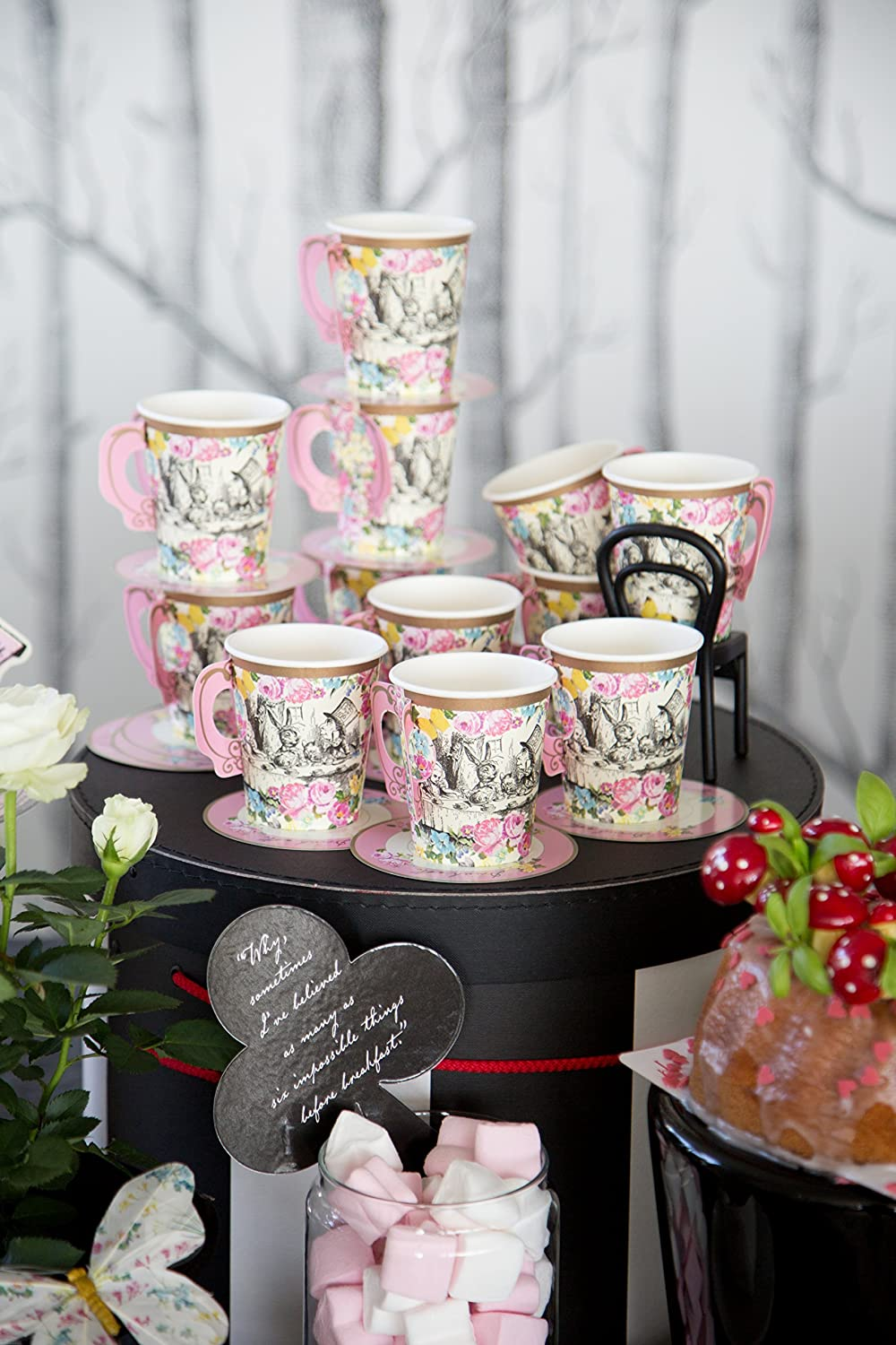 12 Pack TSALICE-CUPSET Great For Mad Hatter Tea Party Paper Talking Tables Alice In Wonderland Party Supplies Tea Cups And Saucer Sets Birthday Party And Baby Shower