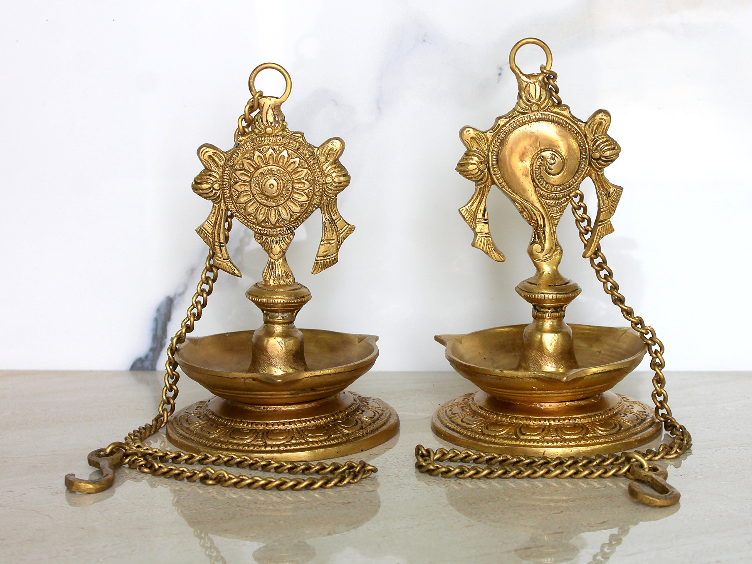 StonKraft Ideal Gift - Pair Of Brass Hanging Diya, Oil Lamp, Lamp For Home and Office (Hanging Length 25.75'')