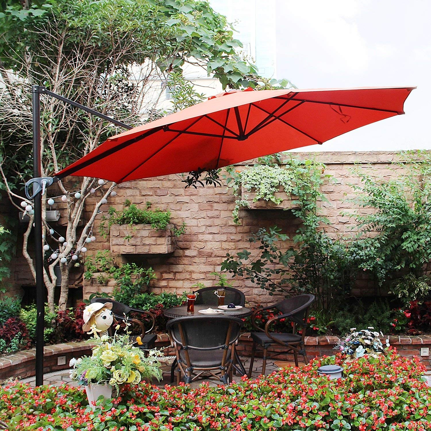 MF STUDIO Offset Cantilever 11ft Outdoor Patio Hanging Umbrella – 8 Positions – Cross Base Included, Orange Red