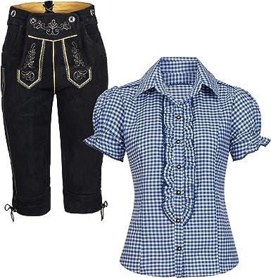 Conjunto de traje regional de mujer, pantalón de piel ...