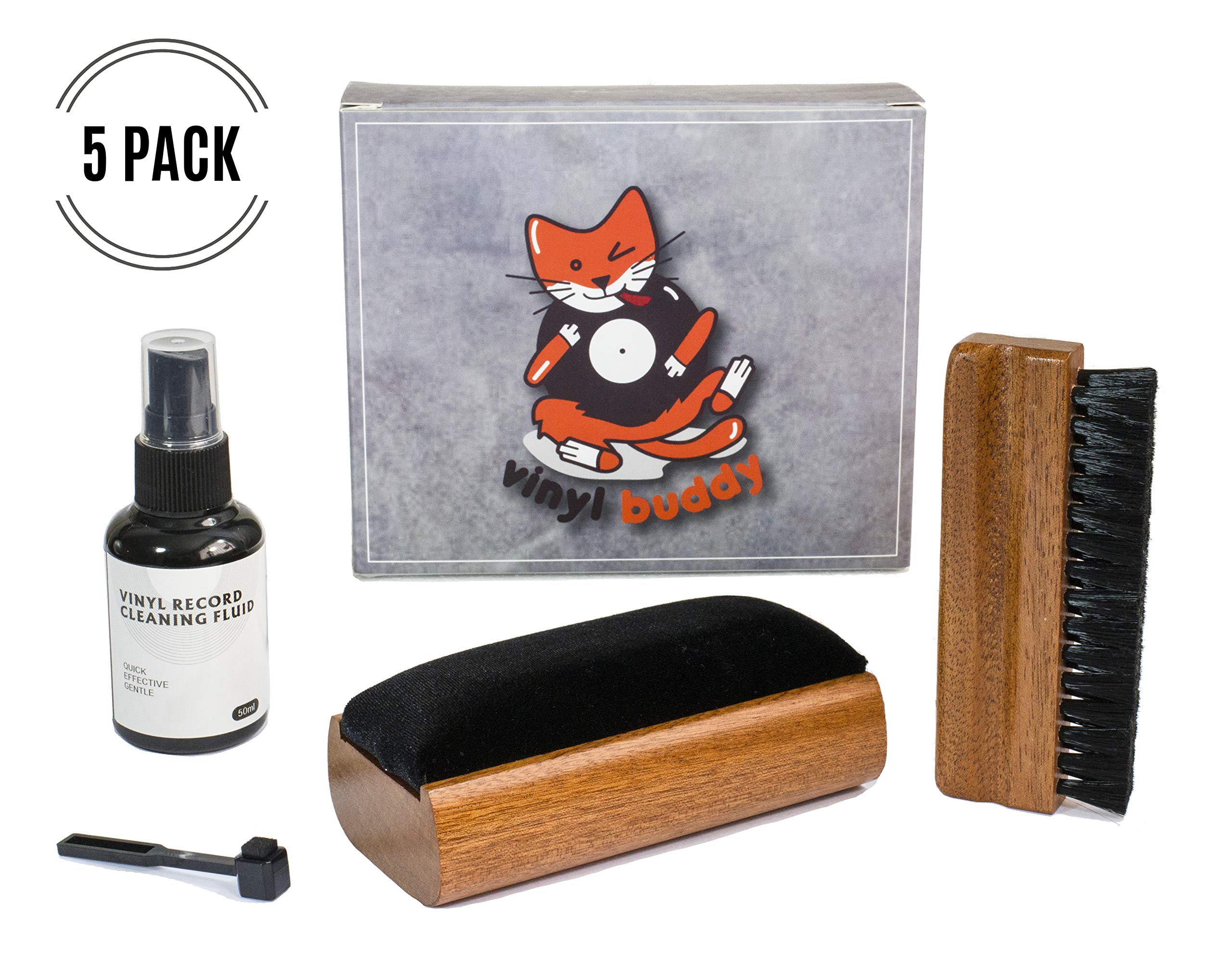 Vinyl Buddy - Premium 5 Piece Record Cleaner Kit Includes: Velvet Brush - Microfiber Brush - Stylus Brush - LUX Cleaning Liquid & Storage Pouch - Rejuvenate and Revive Your Vinyl by Vinyl Buddy