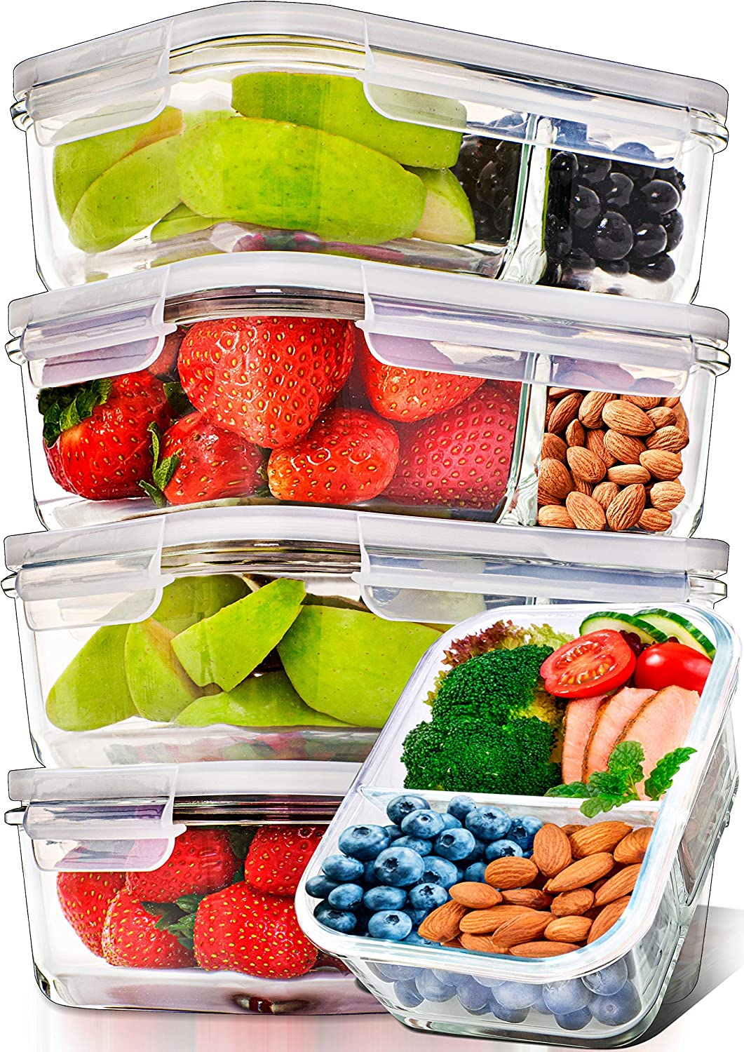 10 Meal Prep Containers 3 Compartments Micro//Freeze BPA Free Airtight