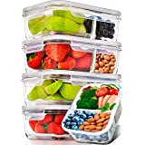 Prep Naturals Glass Meal Prep Containers Glass 2 Compartment 5 Pack - Glass Food Storage Containers - Glass Storage Container