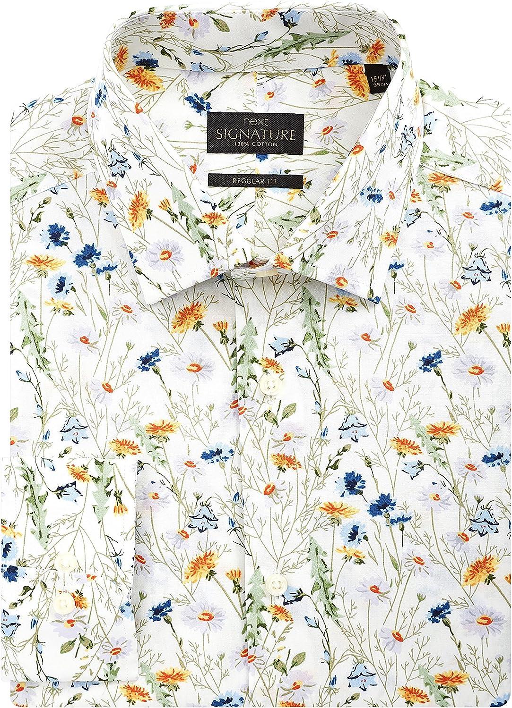 next Hombre Camisa De Flores Corte Estándar Signature Tierra Blanca Cuello 55.5 cm Regular: Amazon.es: Ropa y accesorios