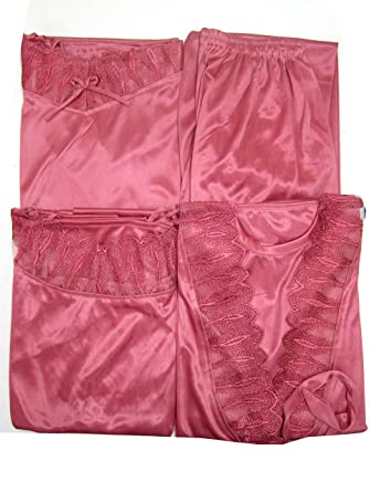 d779e65b5f Indiatrendzs Pink Soft Silk Satin Nighty 4 pc Sets Bedroomwear -Free Size   Amazon.in  Clothing   Accessories