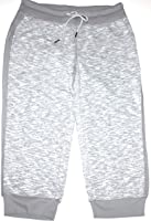 Green Tea Women's Gray Space Dyed Cropped Sweatpants with Ribbed Hem