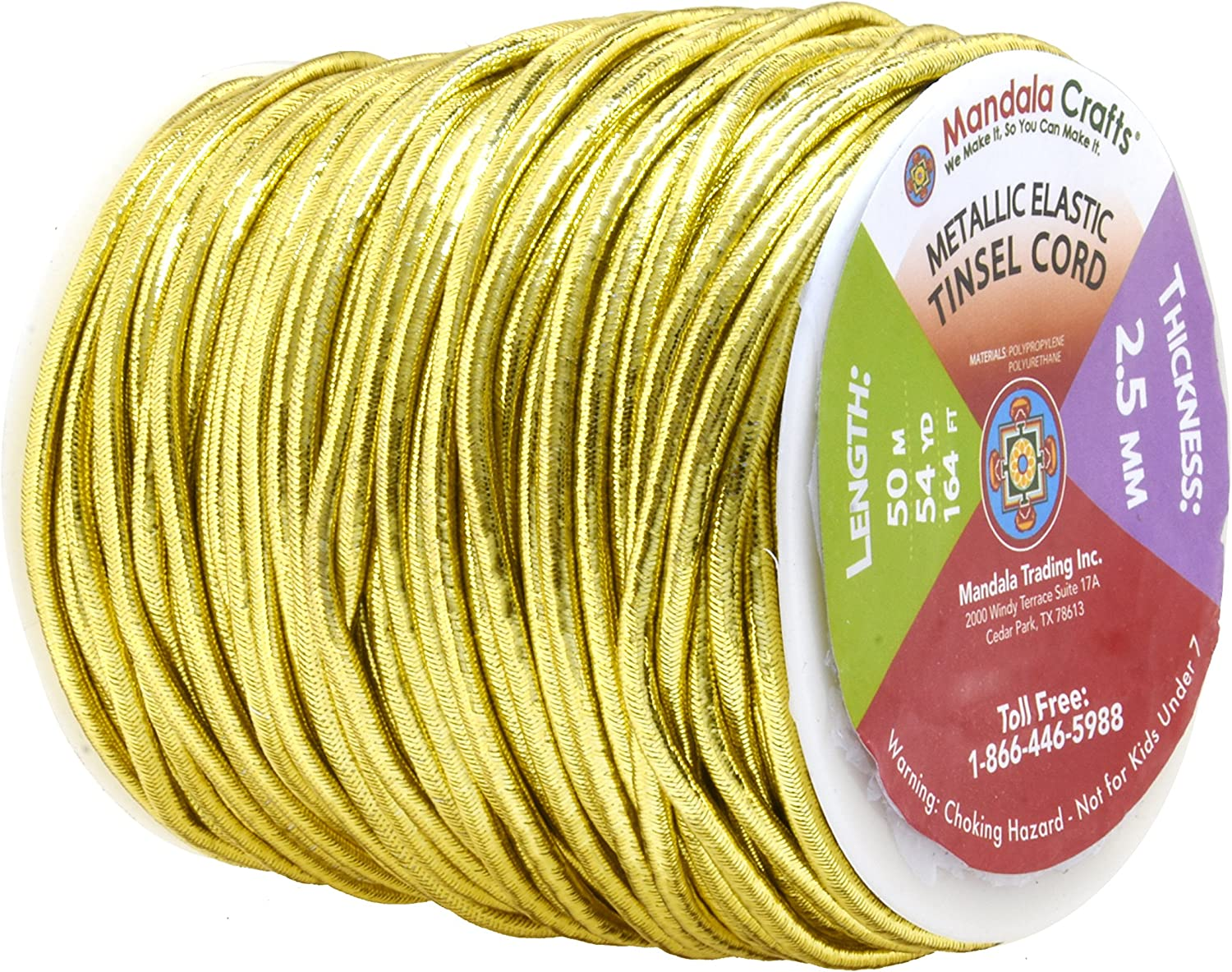Gold Crafting; Non Elastic 1mm 120 Yards Mandala Crafts Metallic Cord Tinsel String Rope for Ornament Hanging Gift Wrapping Decorating