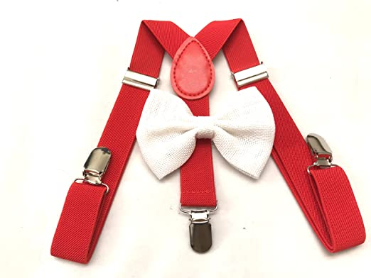 3aae8118d217 Image Unavailable. Image not available for. Color: Child Kids Red  Suspenders Bowtie Set - Adjustable ...