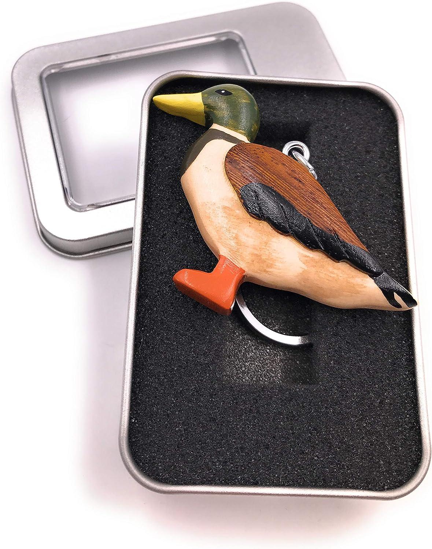 Onwomania Porte-cl/és Bois Oiseau Canard Steockente Oiseau Oies Pendentif Animal Aquatique dans Une bo/îte Cadeau