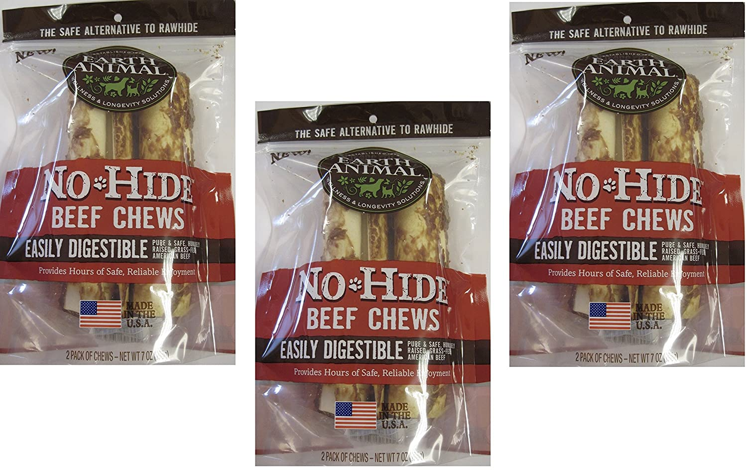 3 Pack (3 Packages) Earth Animal No-Hide Beef Chews 7  (2 Chew Per Pack, 6 Chew Total)