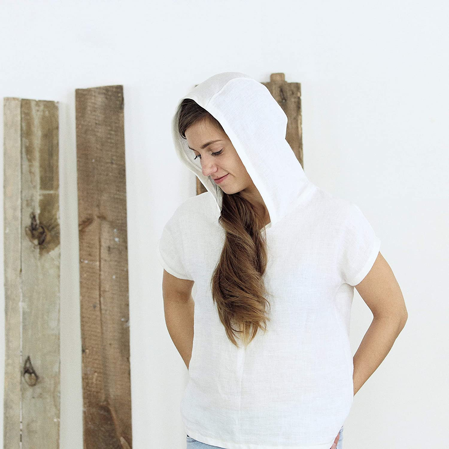 Soft Washed White Linen Shirt Linen Top For Women Linen Tunic Top Ready To Ship  Oversized Linen Top In Taupe Grey
