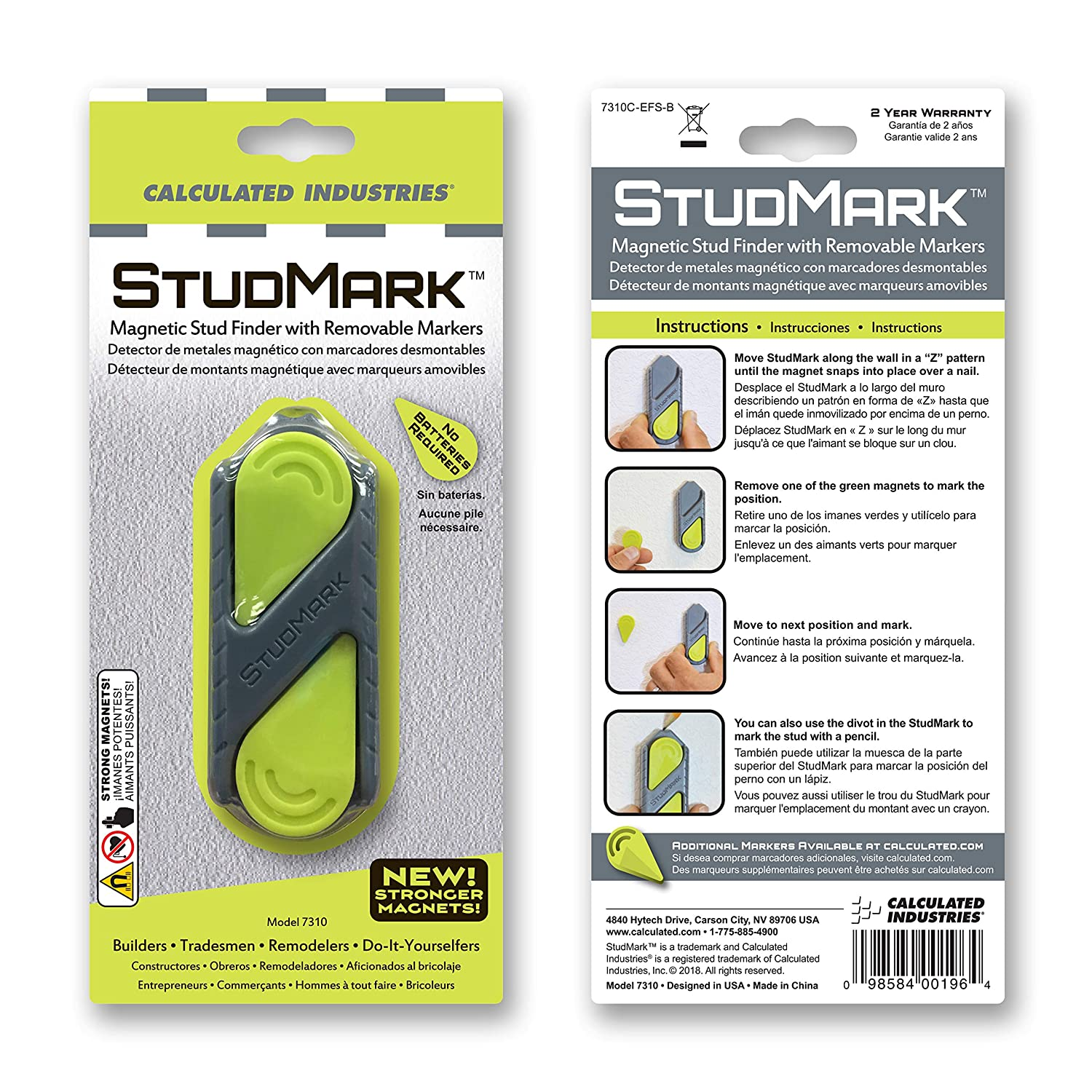 Calculated Industries #7310 StudMark Magnetic Stud Finder with 2 Removable Magnet Markers | Finds & Marks up to 3 Stud Locations | New More Powerful Rare ...