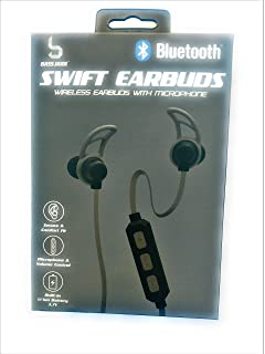Bluetooth wireless Earbuds with microphone Black swift headphones secure comfort fit