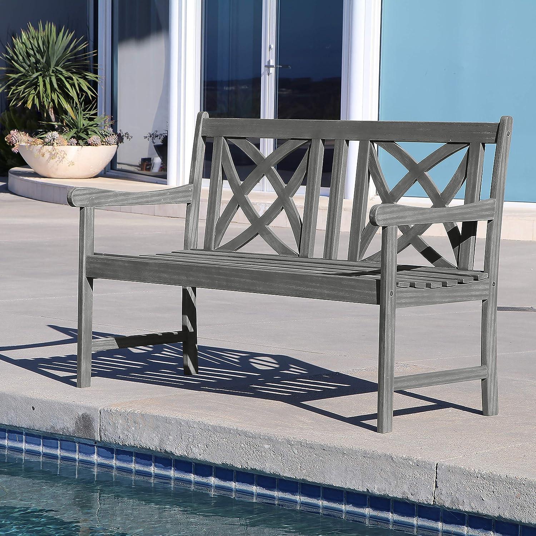 Vifah Bradley Outdoor Patio 4-Foot Wood Garden Bench in White