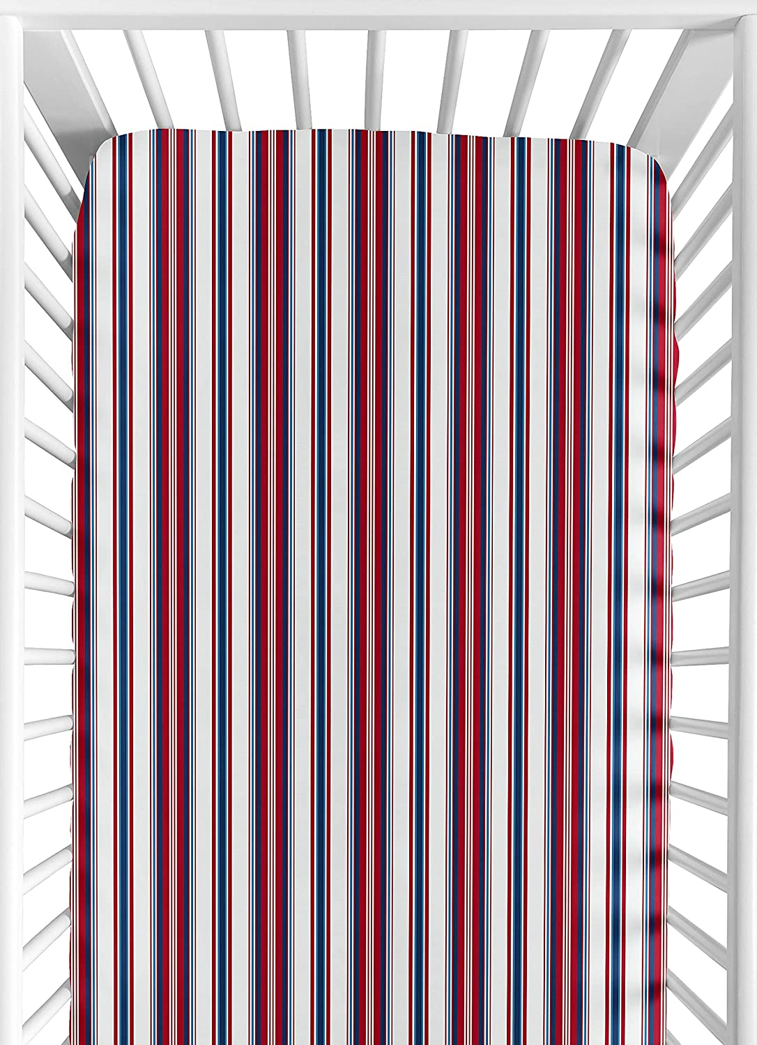 Sweet Jojo Designs Red, White and Blue Striped Baby or Toddler Fitted Crib Sheet for Baseball Patch Sports Collection