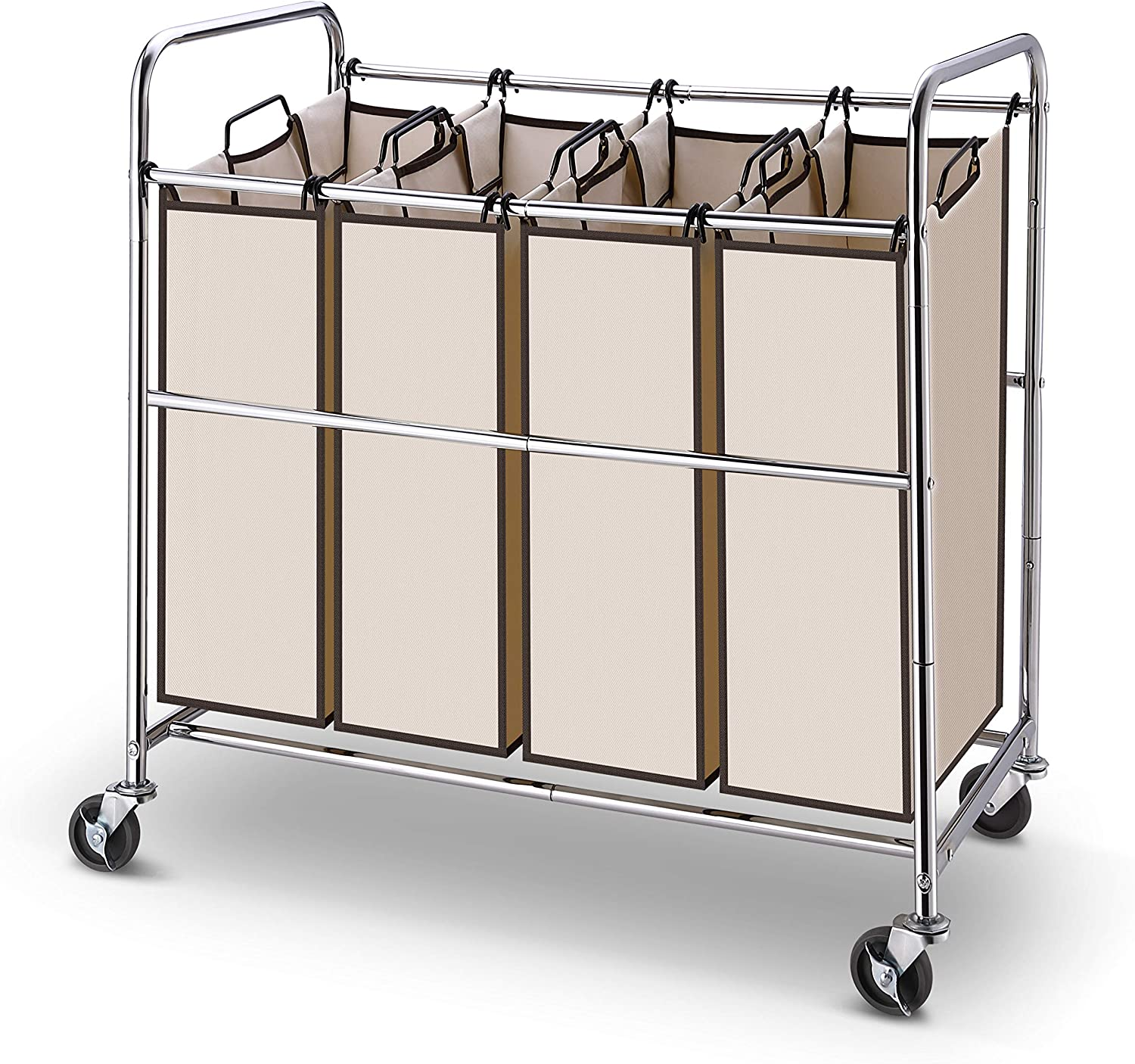 Simple Trending Heavy Duty 4-Bags Laundry Hamper Sorter Cart with Rolling Wheels, Chrome