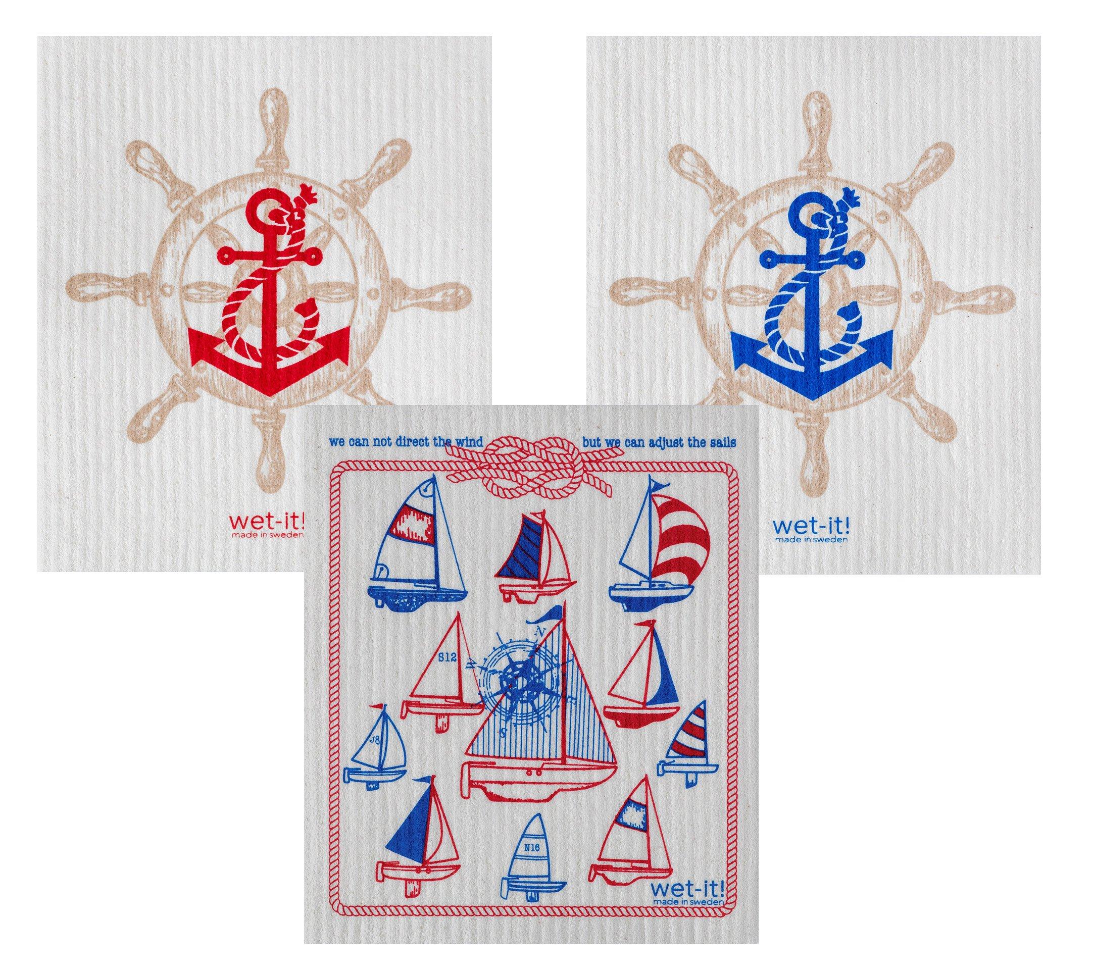 Wet-It Swedish Dishcloth Set of 3 (Sailing Red and Navy)