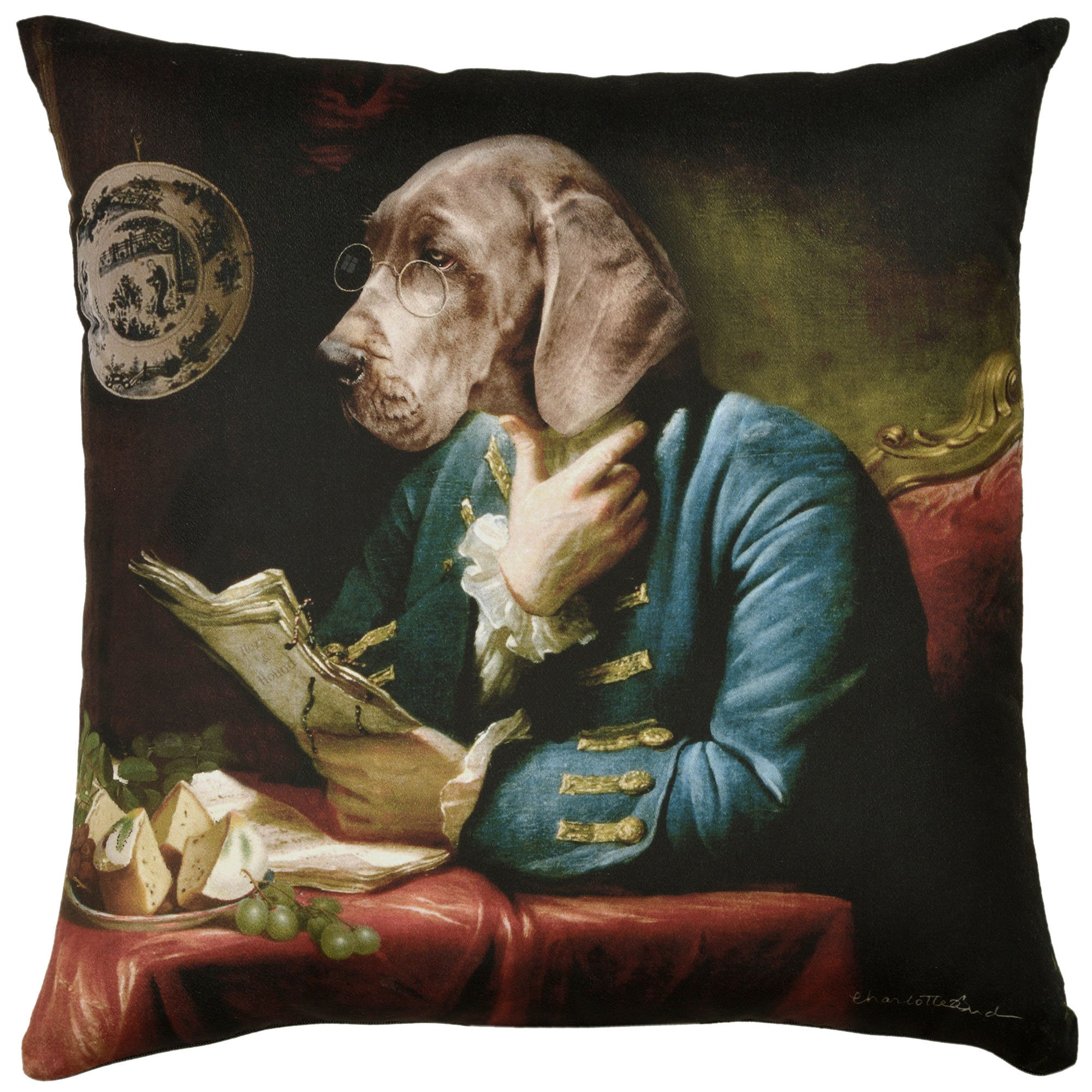 ADORABELLA Pantomime Animals Collection - Soft Touch Velvet Printed Pillow - Great Dane Design 17'' x 17'' Square Throw Pillow Home Decor Scatter Cushion - Complete With Insert