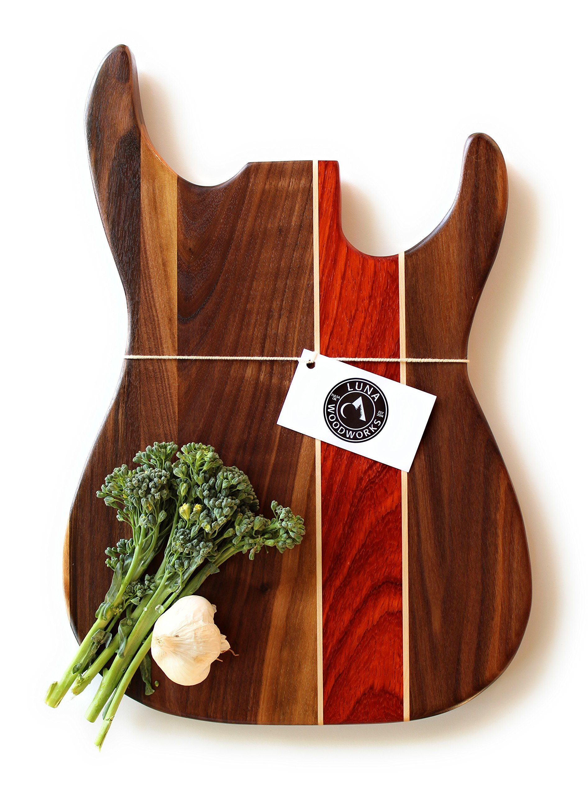 Guitar Cutting Board Engraved Personalized Wood Wedding Anniversary Gift Custom Wooden Sign Rock and Roll Musician Wall Art Music Art Chef Serving Tray Cheese Board Kitchen Decor Bass Handmade in USA