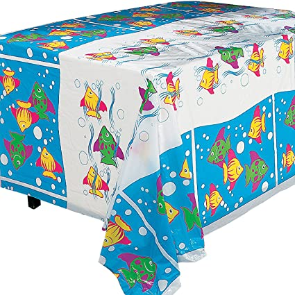 Amazon Com Fun Express Tropical Fish Tablecloth For Party Party