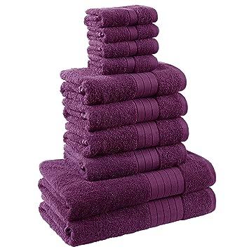 Dreamscene - Lujo Suave 10 Pieza Bale Toalla de baño Set de Regalo 100% algodón Egipcio, Color Morado: Amazon.es: Hogar