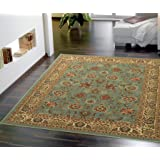 "Ottomanson Ottohome Collection Persian Style Oriental with Non-Skid (Non-Slip) Rubber Backing Area Rug, 60"" L x 78"" W, Sage Green/Aqua Blue"