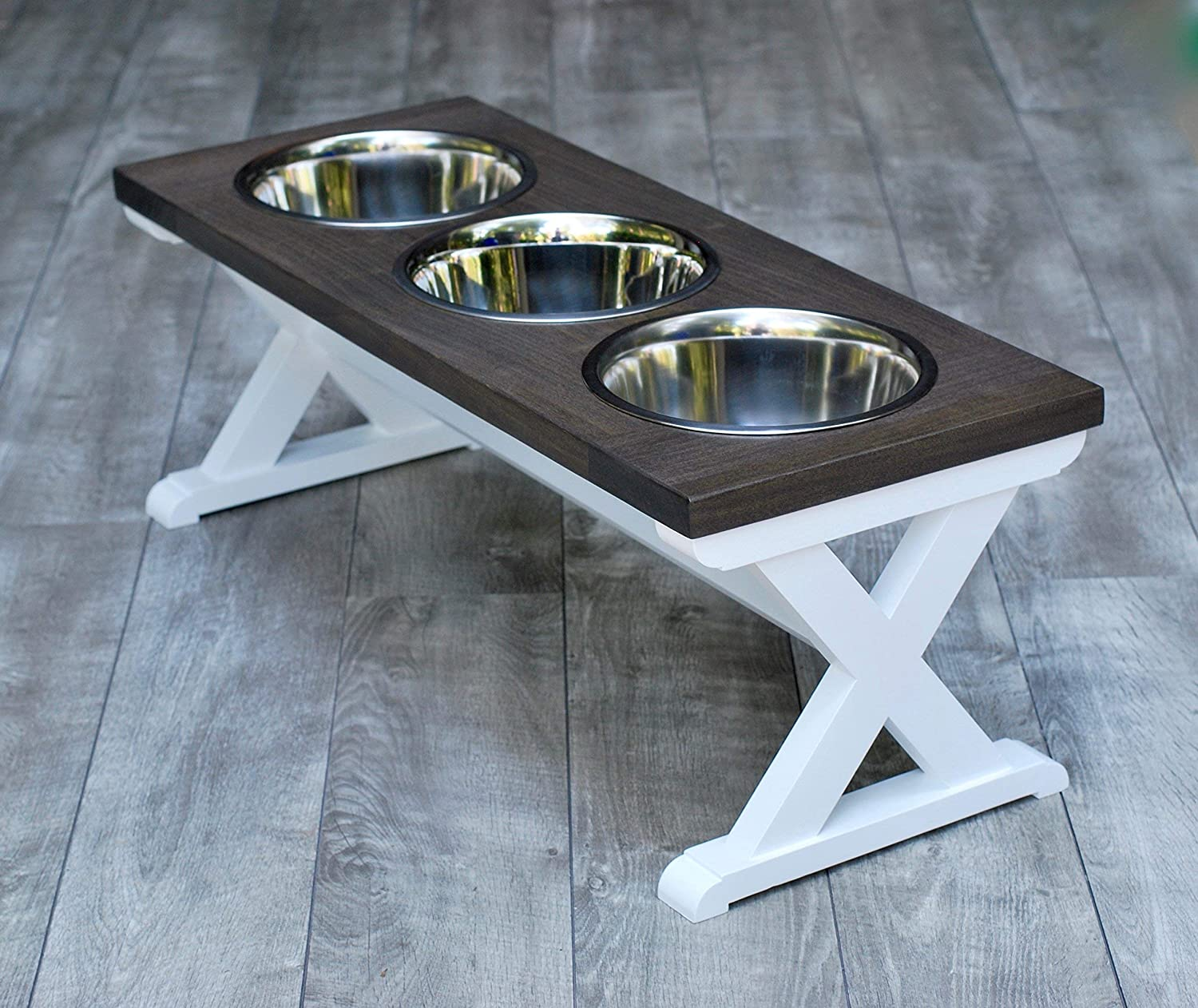 Large Three Bowl X Pattern Farmhouse Dog Bowl Stand