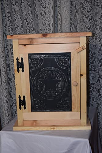 Amish made spice cabinet with tin punched panel