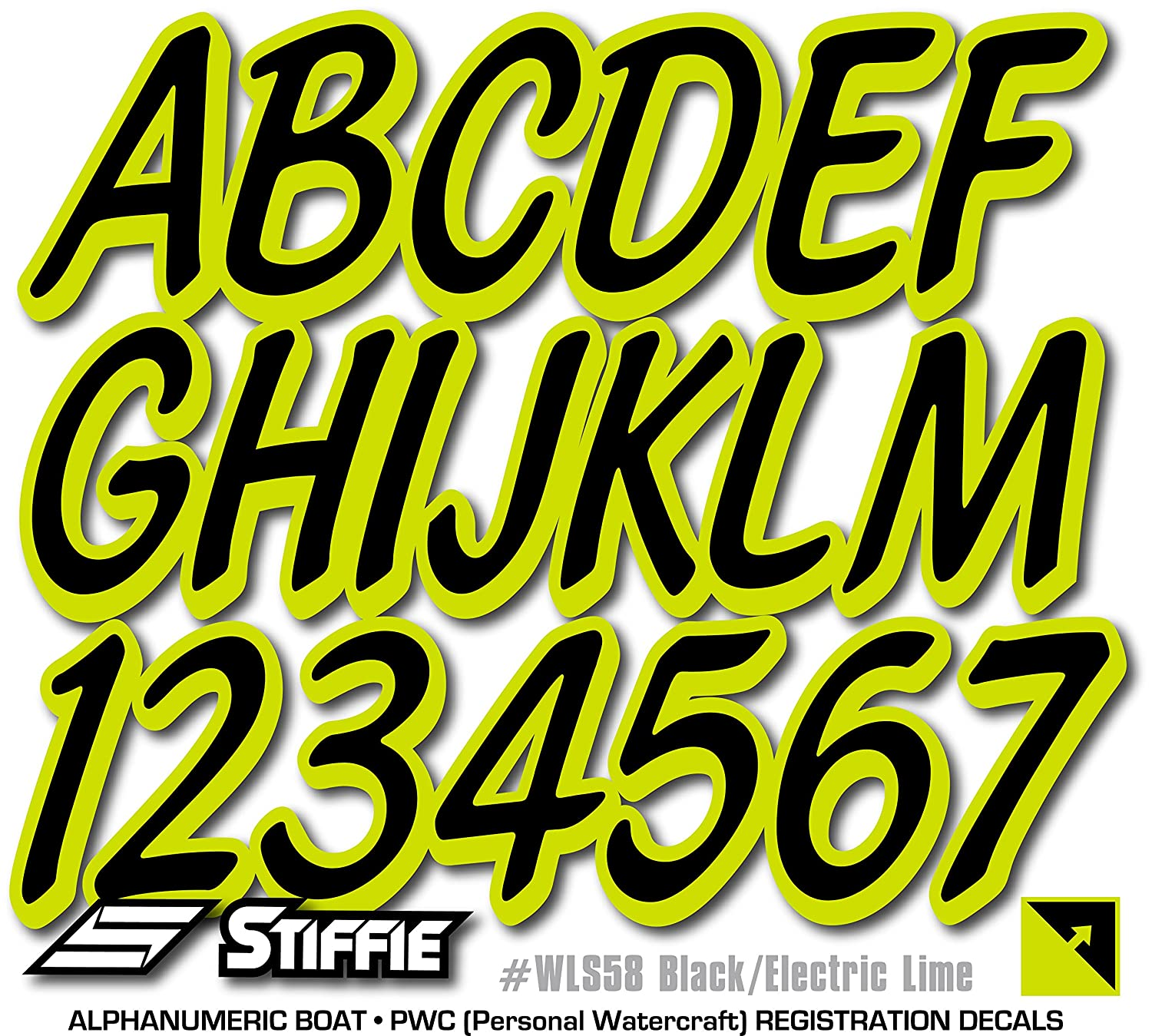 Stiffie Whipline Solid Black//Electric Lime 3 Alpha-Numeric Registration Identification Numbers Stickers Decals for Boats /& Personal Watercraft