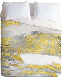 Society6 Sheila Wenzel-Ganny Silver and Gold Marble Design Duvet Cover Set with Pillowcase(s), King, Minneapolis Minnesota
