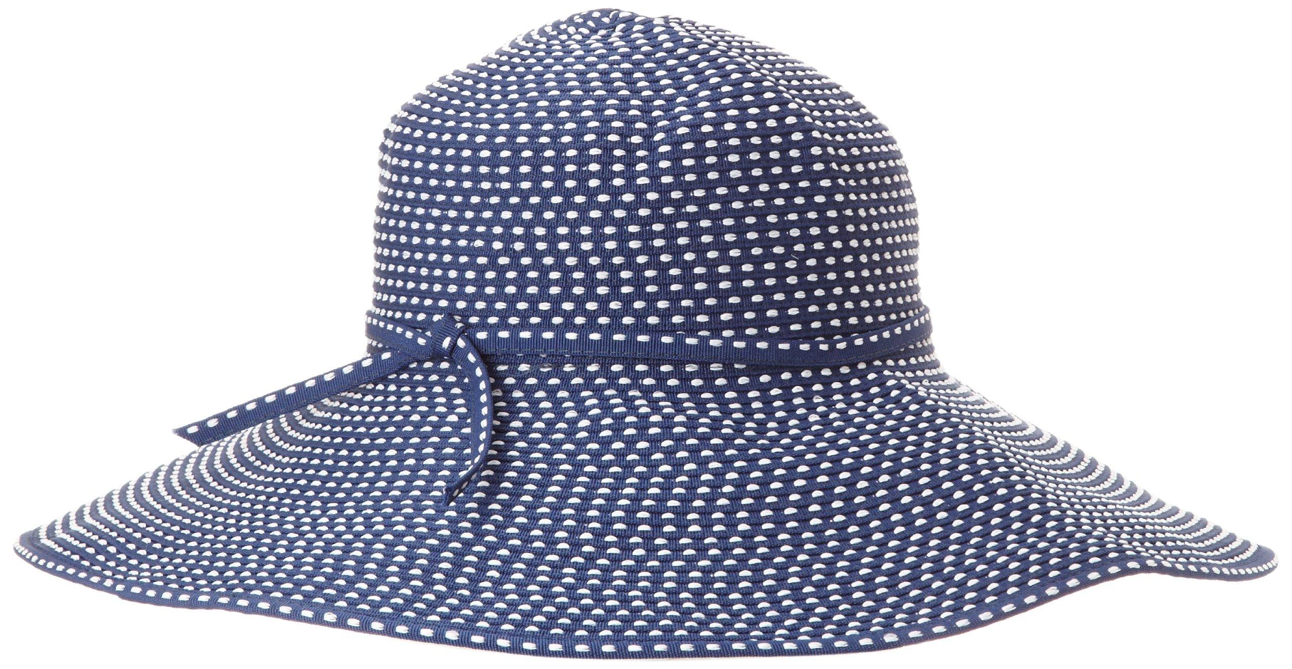 San Diego Hat Company Women's Ribbon Braid Hat With 5 Inch Brim,Navy,One Size