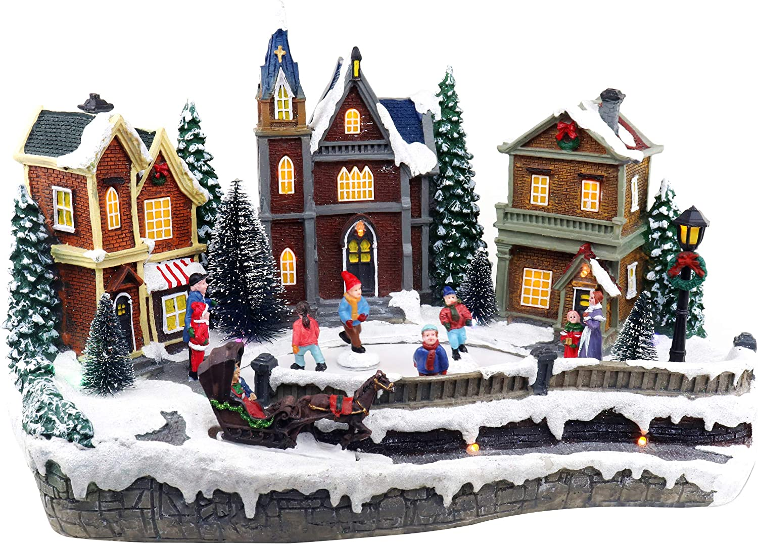 Skating Christmas Village | Animated Pre-lit Musical Winter Snow Village With 4 Moving Skaters | Perfect Addition to Your Christmas Indoor Decorations & Christmas Village Displays