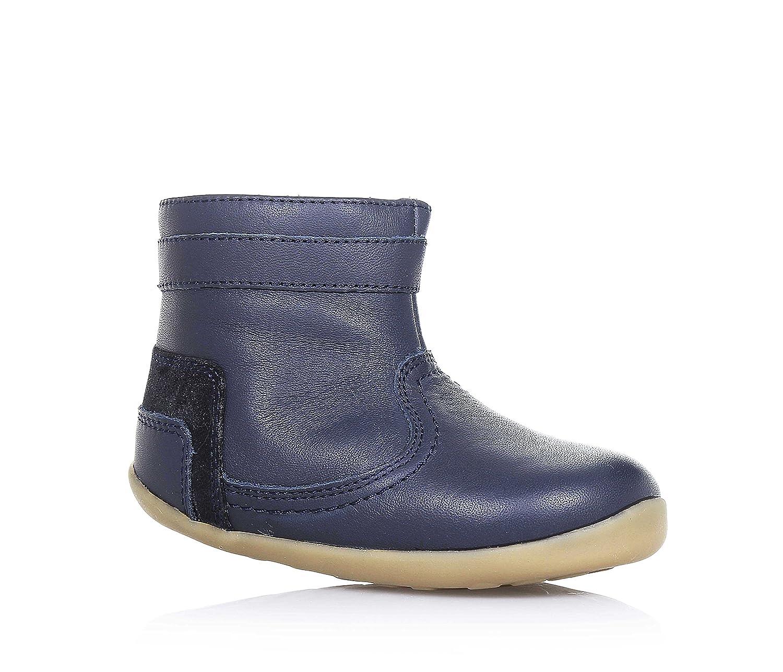 BOBUX - Bottine bleue en cuir, extrêmement flexible, qui permet une croissance sans restriction, réalisée avec teintures et matériaux non-toxiques, avec fermeture éclair latérale, gar&