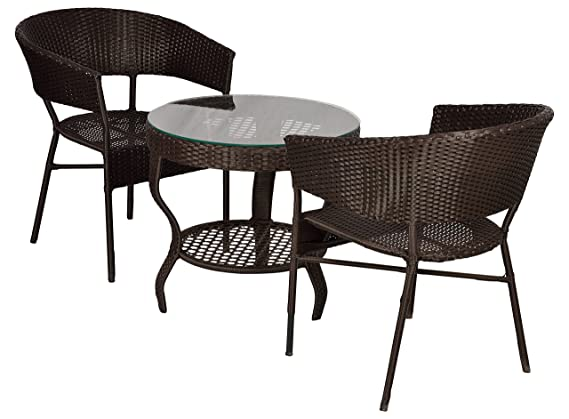 FurniFuture™ Spidy Outdoor Patio Furniture Set 2+1 - (Brown)