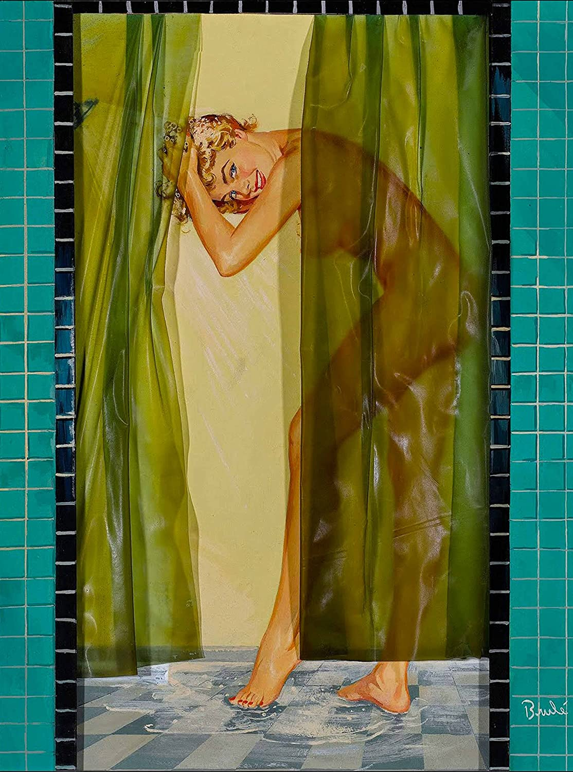 1940's Pin-Up Girl in The Shower Vintage Home Pin Up Collectible Wall Decor Art Poster Picture Print. Measures 10 x 13.5 inches