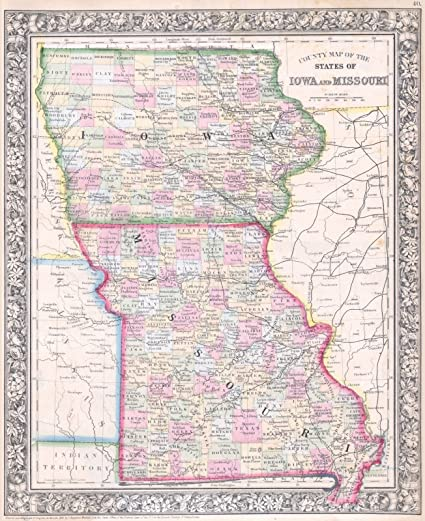 Amazon Com Historic Pictoric Historical 1864 Mitchell Map Of Iowa